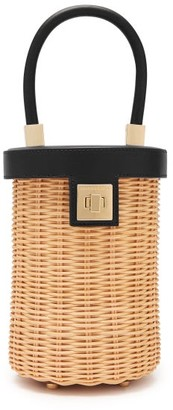 Sparrows Weave - The Cylinder Wicker And Leather Bag - Womens - Black