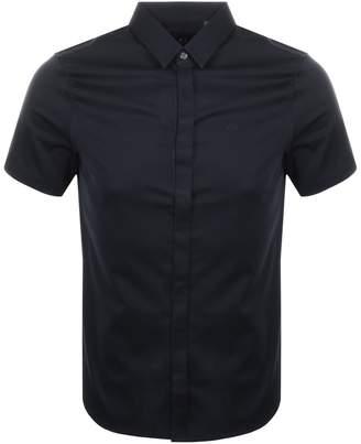 Armani Exchange Short Sleeved Slim Fit Shirt Navy