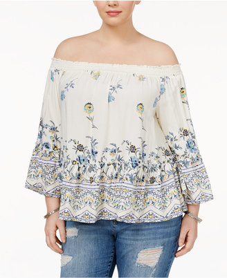 American Rag Trendy Plus Size Bell-Sleeve Off-The-Shoulder Top, Created for Macy's $59.50 thestylecure.com