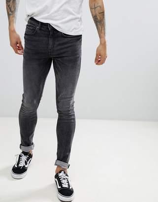 New Look Skinny Jeans In Gray Acid Wash