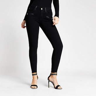 River Island Black Amelie super skinny zip pocket jeans