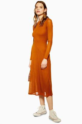 Topshop Plain Mesh Midi Dress