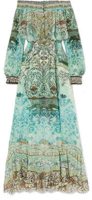 Camilla The Long Way Home Embellished Printed Silk Crepe De Chine Maxi Dress - Jade