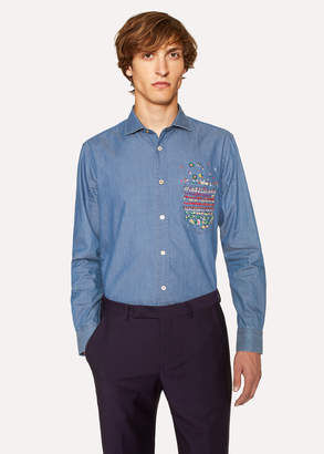 Paul Smith Men's Slim-Fit Blue Chambray Shirt With Embroidered Pocket