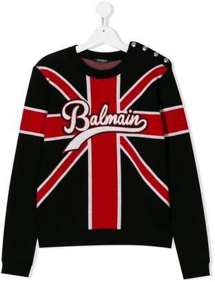 Balmain Kids TEEN Union Jack logo sweater