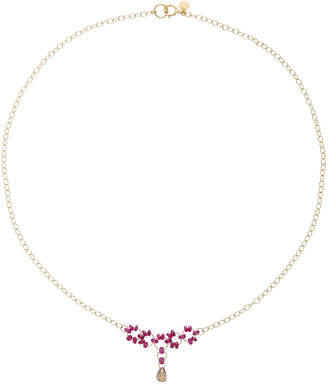 Mallary Marks Petite Trestle 18K Gold Ruby and Diamond Briollete Necklace