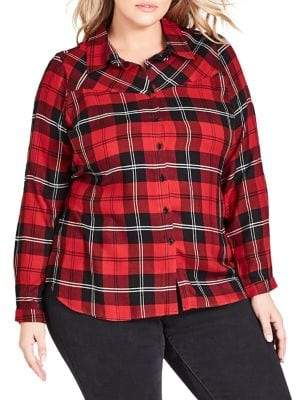 City Chic Plus Checkout Relaxed-Fit Button-Down Shirt