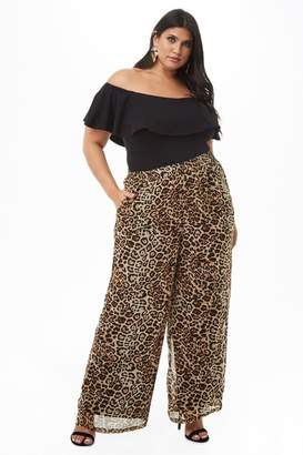 Forever 21 Plus Size Sheer Leopard Print Palazzo Pants