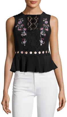 Nanette Lepore Posey Sleeveless Silk Crepe de Chine Top, Black