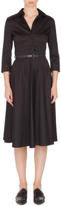 Akris Punto Detachable Collar Cotton Blend Dress