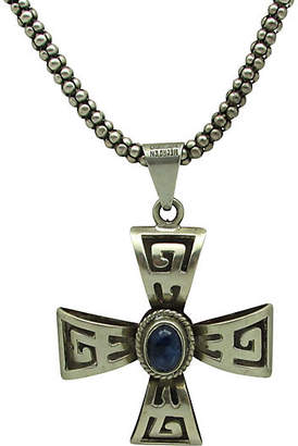 One Kings Lane Vintage Sterling & Lapis Cross Necklace - Thanks for the Memories