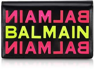 Balmain Black Smooth Leather Clutch W/neon Metallic Logo