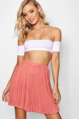 boohoo Pleated Woven Mini Skirt