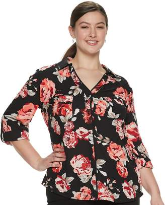 Candies Juniors' Plus Size Candie's Piped Roll-Tab Blouse