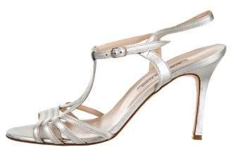 Manolo Blahnik Metallic T-Strap Sandals