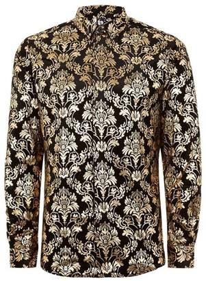 Topman Mens Black TWISTED TAILOR Gold Velvet 'Thrill' Baroque Long Sleeve Shirt
