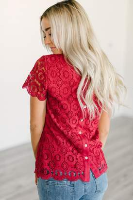 Ampersand Avenue Button Back Lace Top - Red