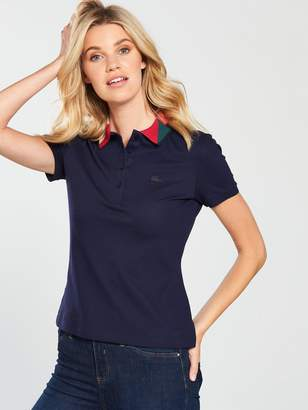 Lacoste Short Sleeved Polo Top With Geometric Collar - Navy Blue