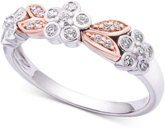 Wrapped in Love Diamond Two-Tone Flower Ring (1/4 ct. t.w.) in 14k White & Rose Gold, Created for Macy's