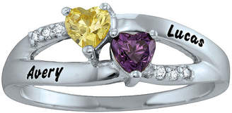 FINE JEWELRY Personalized Engraved Simulated Birthstone Heart Split Shank Ring