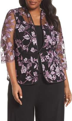 Alex Evenings Floral Embroidered Twinset