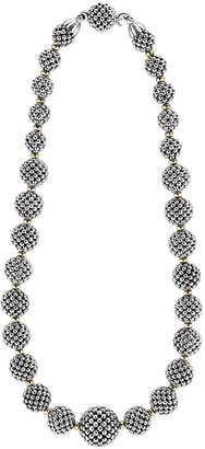 Lagos Sterling Silver Caviar Necklace with 18K Gold, 17