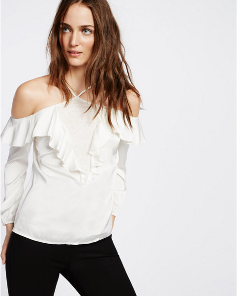 Express lace inset halter ruffle blouse
