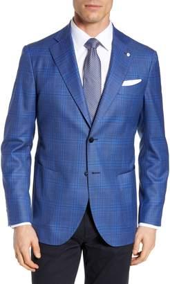Lubiam Trim Fit Plaid Wool Sport Coat