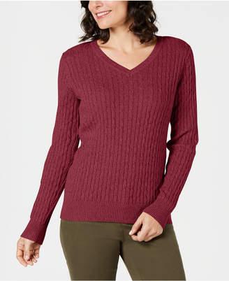 Karen Scott V-Neck Cable-Knit Sweater