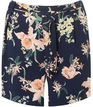 Dorothy Perkins Womens **DP Curve Navy Tropical Print Belted Shorts