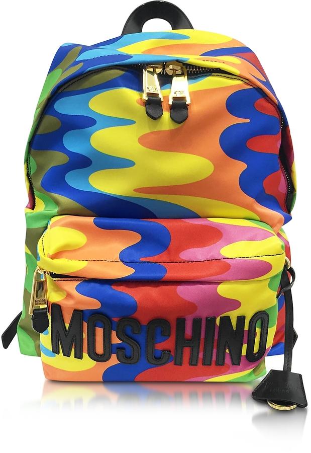 MoschinoMoschino Multicolor Print Nylon Backpack w/Logo
