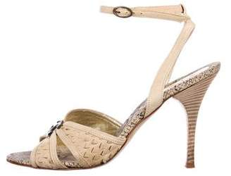Just Cavalli Leather Ankle-Strap Sandals