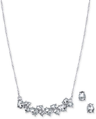 """Charter Club Silver-Tone Crystal Collar Necklace & Stud Earrings Set, 17"""" + 2"""" extender"""