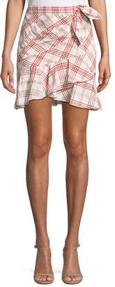 Veronica Beard Kaia Tie-Waist Plaid Mini Skirt
