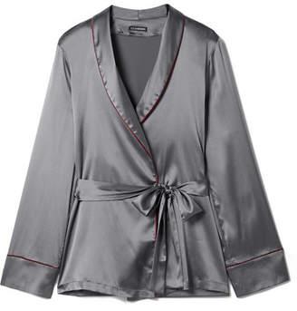 Kyoto Nights Stretch-silk Satin Pajama Shirt - Anthracite
