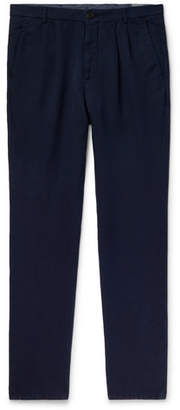 Brunello Cucinelli Navy Slim-Fit Pleated Linen And Cotton-Blend Chinos