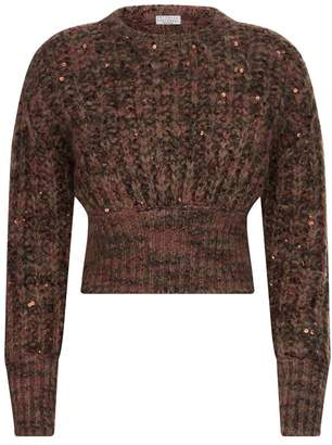 Brunello Cucinelli Sequin Chunky Knit Cropped Sweater