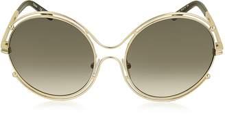 Chloé ISIDORA CE 122S Oval Oversized Metal Women's Sunglasses