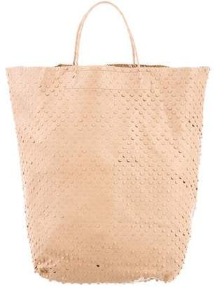 Helmut Lang 2001 Perforated Leather Shopping Tote