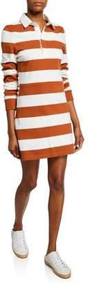 Veronica Beard Dusty Striped Long-Sleeve Rugby Dress