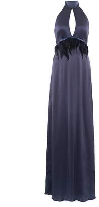 Anna Etter - Navy Blue Maxi Dress Blaire with Detachable Feathers