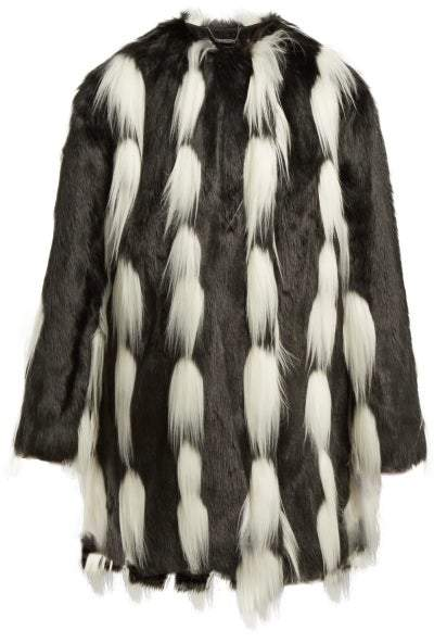 Oversized Faux Fur Coat - Womens - Black White