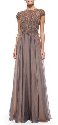 La Femme Cap-Sleeve Lace-Bodice Flowy Gown $460 thestylecure.com