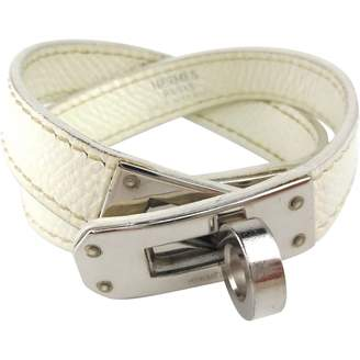 Hermes Kelly Double Tour White Leather Bracelets