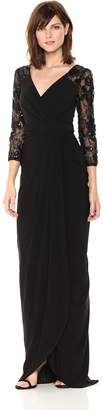 Adrianna Papell Women's Long Dress with Lace Sleeves