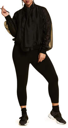 Marina Rinaldi Plus Size Zip-Front Organza Bomber Jacket with Own Scarf