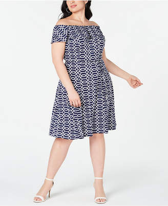 41cb3a3d1f0 Love Squared Trendy Plus Size Off-The-Shoulder Printed Dress