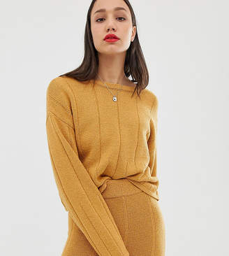 Asos Tall DESIGN Tall eco co-ord slash neck jumper with varied ribs