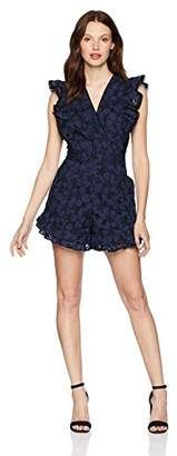 Rebecca Taylor Women's Flutter Sleeve Embroidered Romper