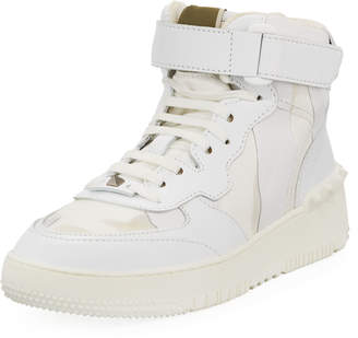 Valentino Men's High-Top Leather Sneakers, Bianco
